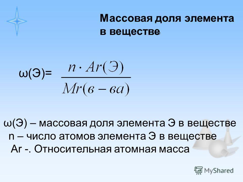 ω(Э)=, где ω(Э) – массовая доля элемента Э в веществе n – число атомов элемента Э в веществе Ar -. Относительная атомная масса Массовая доля элемента в веществе