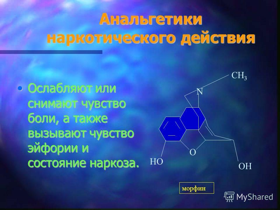 Анальгетики наркотического действия Ослабляют или снимают чувство боли, а также вызывают чувство эйфории и состояние наркоза.Ослабляют или снимают чувство боли, а также вызывают чувство эйфории и состояние наркоза. НО СН 3 О ОН N морфин