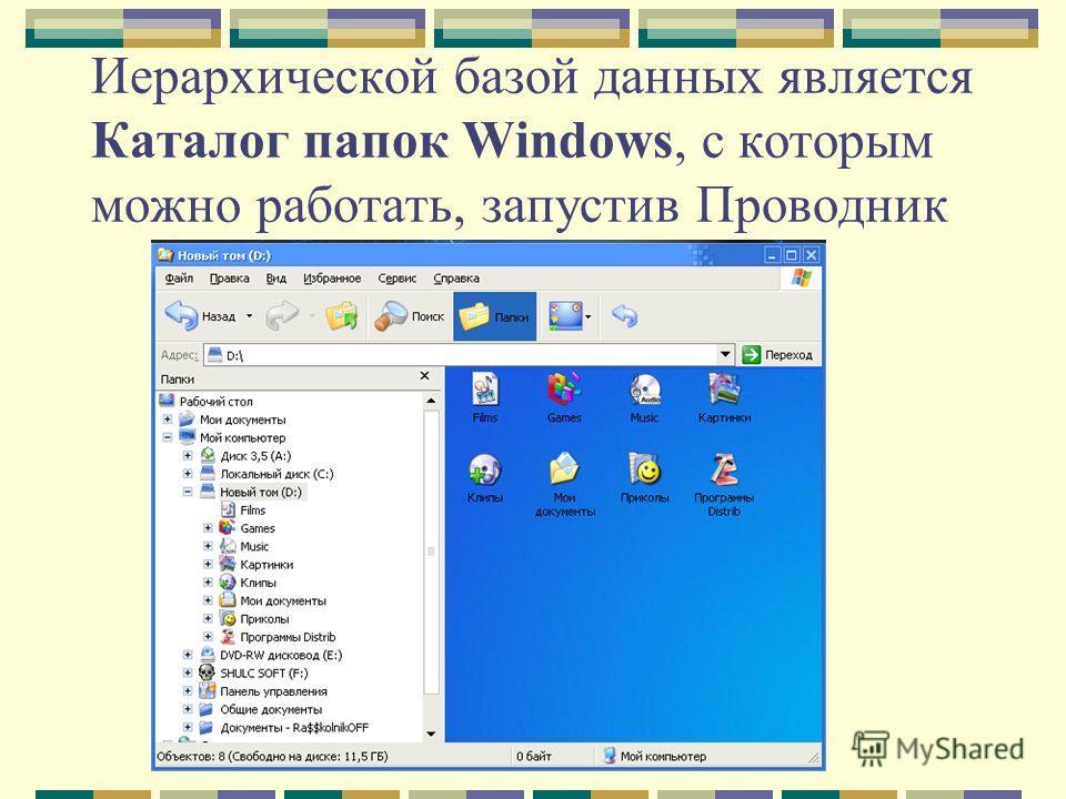 Иерархической базой данных является Каталог папок Windows, с которым можно работать, запустив Проводник