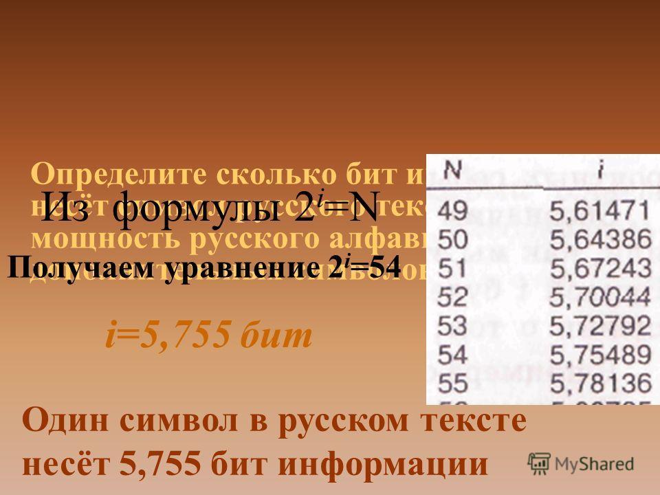 Определите сколько бит информации несёт символ русского текста? Если мощность русского алфавита и дополнительных символов равна 54. Из формулы 2 i =N Получаем уравнение 2 i =54 i=5,755 бит Один символ в русском тексте несёт 5,755 бит информации