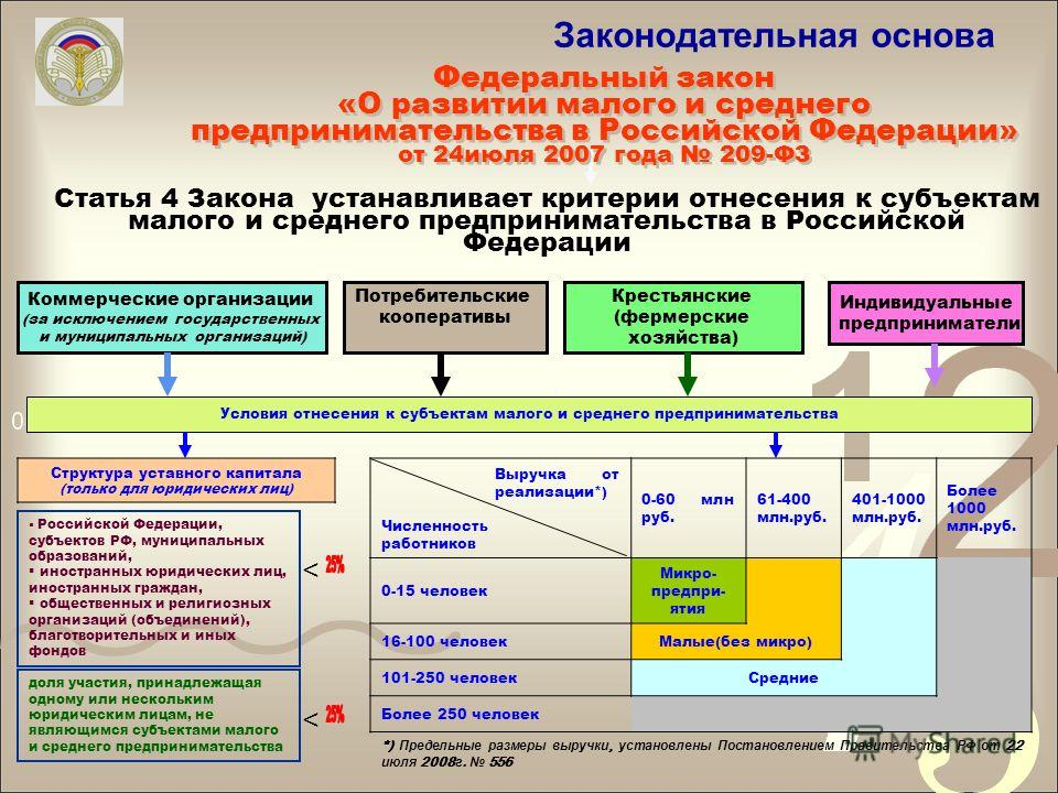Законодательная основа Федеральный закон «О развитии малого и среднего предпринимательства в Российской Федерации» от 24июля 2007 года 209-ФЗ Федеральный закон «О развитии малого и среднего предпринимательства в Российской Федерации» от 24июля 2007 г