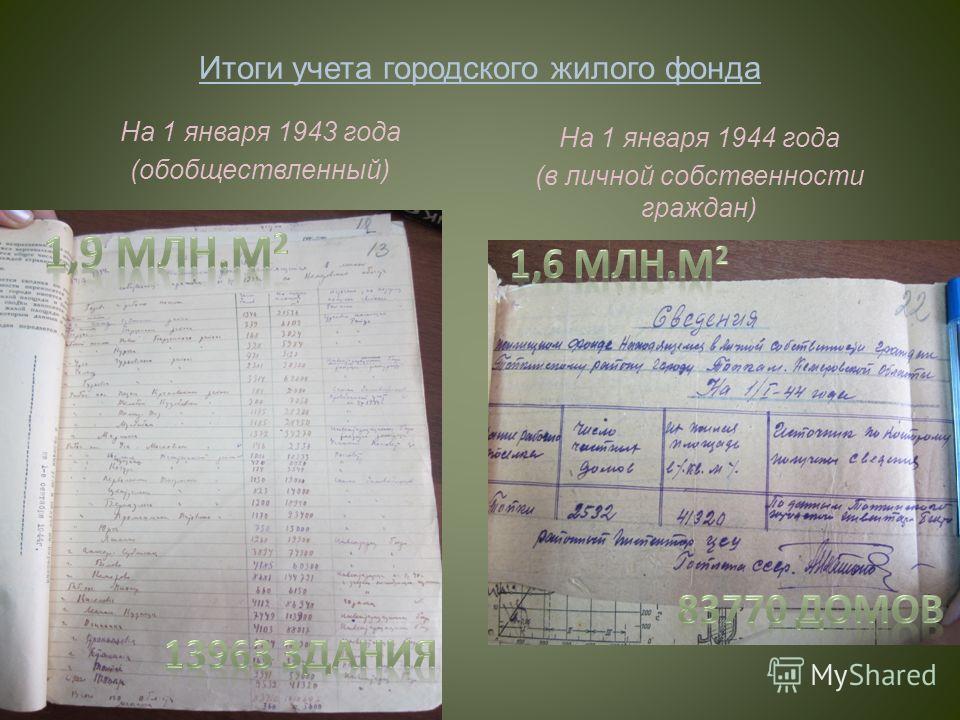 Итоги учета городского жилого фонда На 1 января 1943 года (обобществленный) На 1 января 1944 года (в личной собственности граждан)
