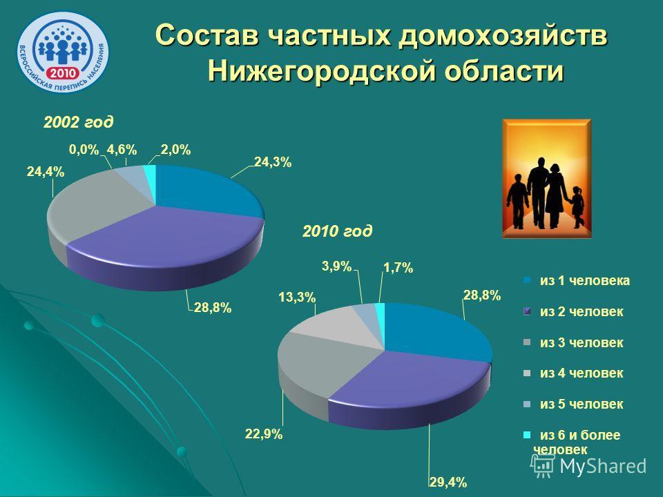 Состав частных домохозяйств Нижегородской области 2002 год 2010 год