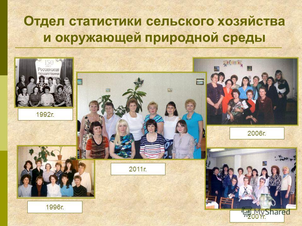 Отдел статистики сельского хозяйства и окружающей природной среды 2011г. 2001г. 1992г. 1996г. 2006г.