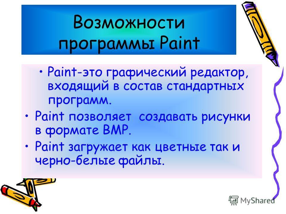 Графический редактор Paint Графический редактор Paint Основы программы