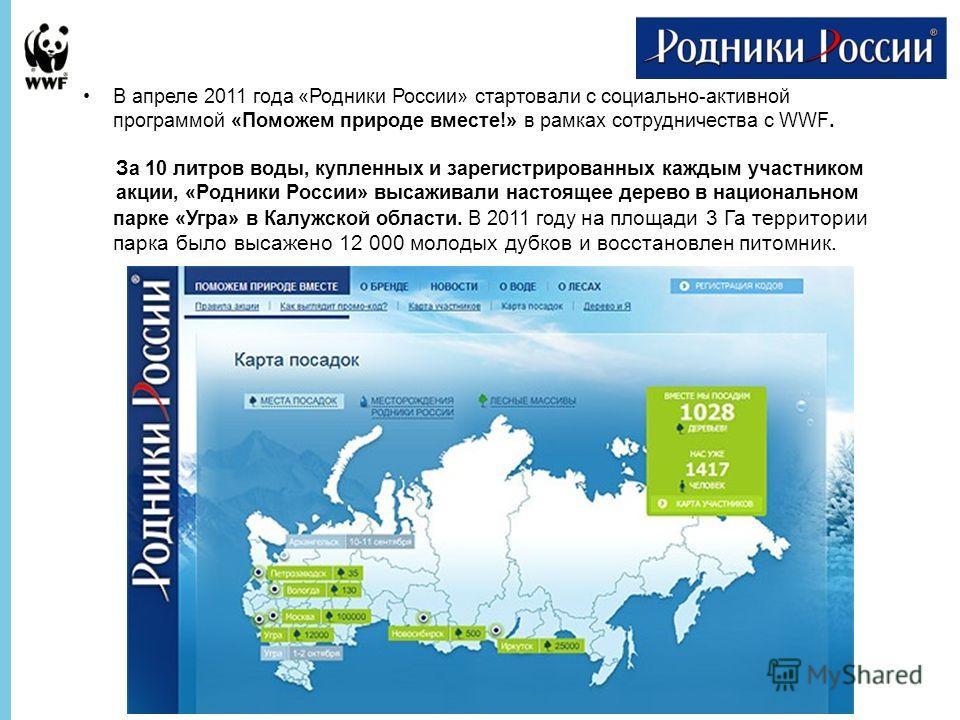 В апреле 2011 года «Родники России» стартовали с социально-активной программой «Поможем природе вместе!» в рамках сотрудничества с WWF. За 10 литров воды, купленных и зарегистрированных каждым участником акции, «Родники России» высаживали настоящее д