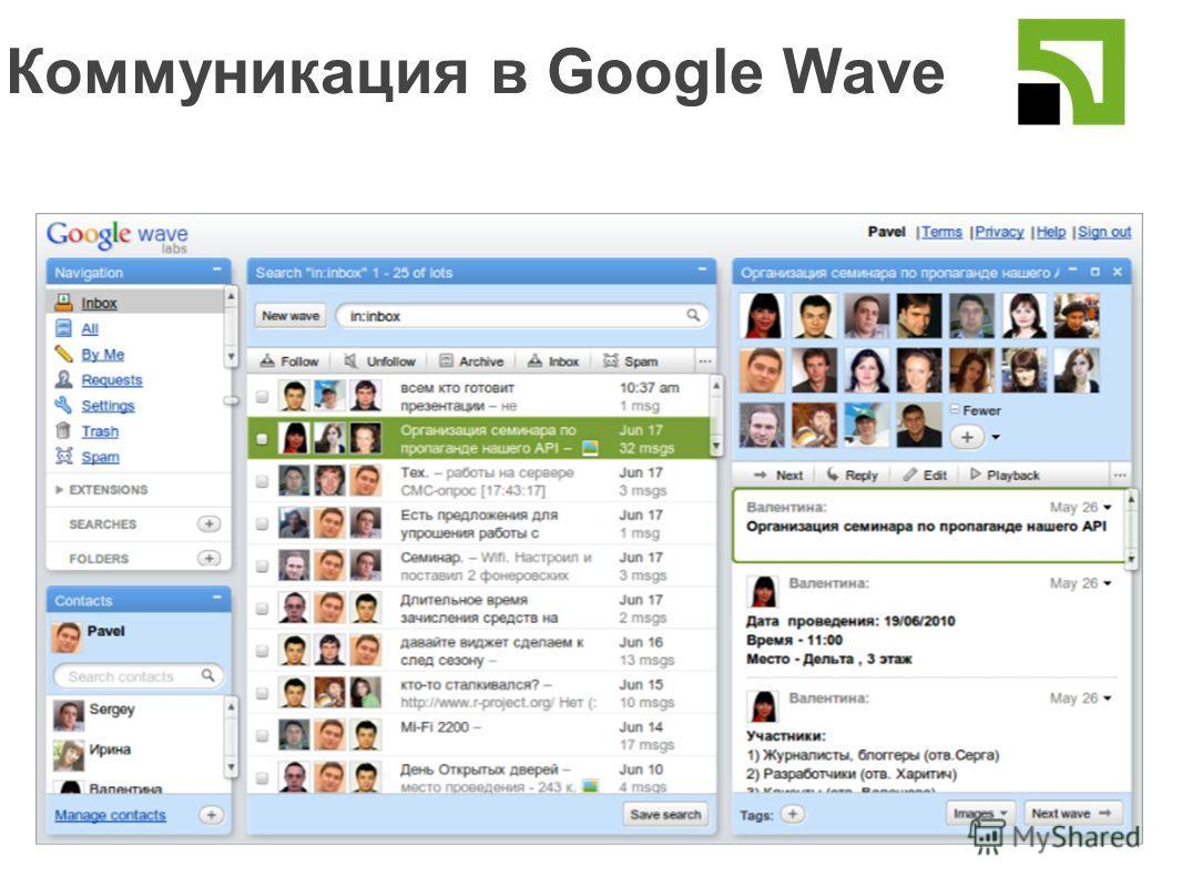 Коммуникация в Google Wave