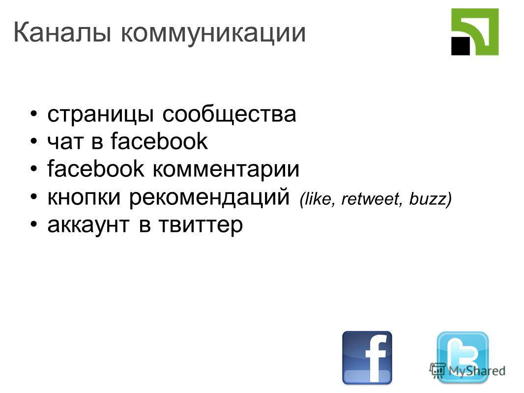 Каналы коммуникации cтраницы сообщества чат в facebook facebook комментарии кнопки рекомендаций (like, retweet, buzz) аккаунт в твиттер