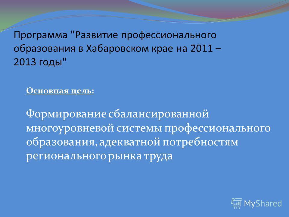 Программа Развитие профессионального образования в Хабаровском крае на 2011 – 2013 годы Основная цель: Формирование сбалансированной многоуровневой системы профессионального образования, адекватной потребностям регионального рынка труда