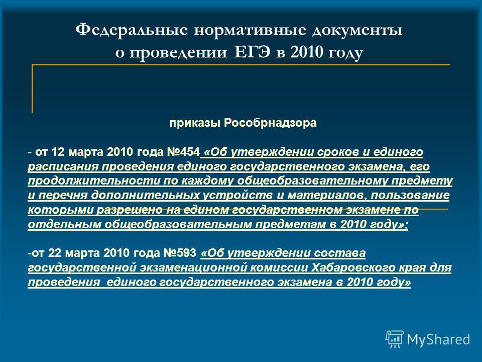 Федеральные нормативные документы о проведении ЕГЭ в 2010 году приказы Рособрнадзора - от 12 марта 2010 года 454 «Об утверждении сроков и единого расписания проведения единого государственного экзамена, его продолжительности по каждому общеобразовате