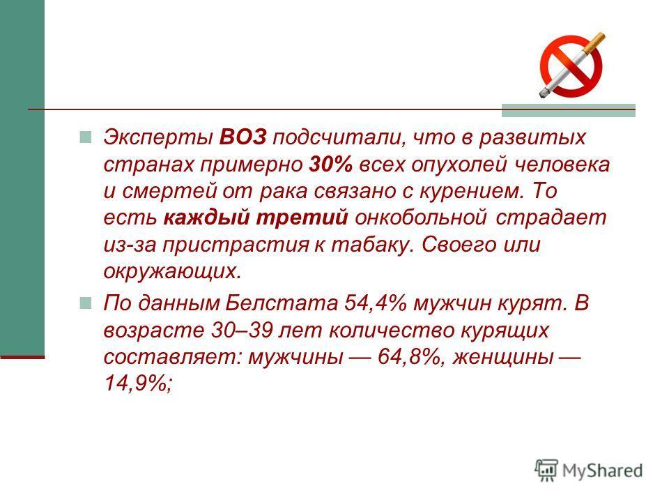 Эксперты ВОЗ подсчитали, что в развитых странах примерно 30% всех опухолей человека и смертей от рака связано с курением. То есть каждый третий онкобольной страдает из-за пристрастия к табаку. Своего или окружающих. По данным Белстата 54,4% мужчин ку