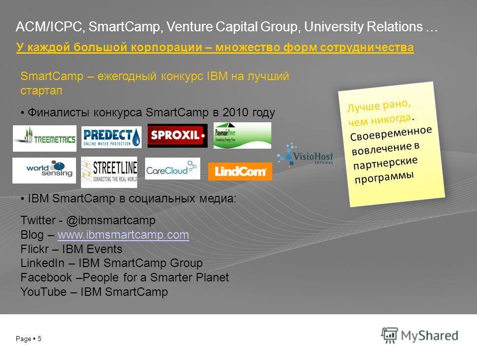 Page 5 ACM/ICPC, SmartCamp, Venture Capital Group, University Relations … У каждой большой корпорации – множество форм сотрудничества Лучше рано, чем никогда. Своевременное вовлечение в партнерские программы SmartCamp – ежегодный конкурс IBM на лучши