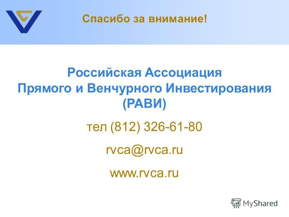 Российская Ассоциация Прямого и Венчурного Инвестирования (РАВИ) тел (812) 326-61-80 rvca@rvca.ru www.rvca.ru Спасибо за внимание!