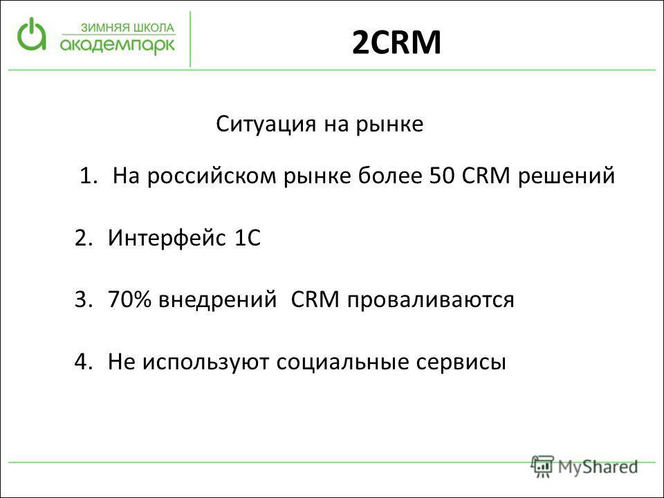 2CRM Ситуация на рынке 1.На российском рынке более 50 CRM решений 2.Интерфейс 1С 3.70% внедрений CRM проваливаются 4.Не используют социальные сервисы