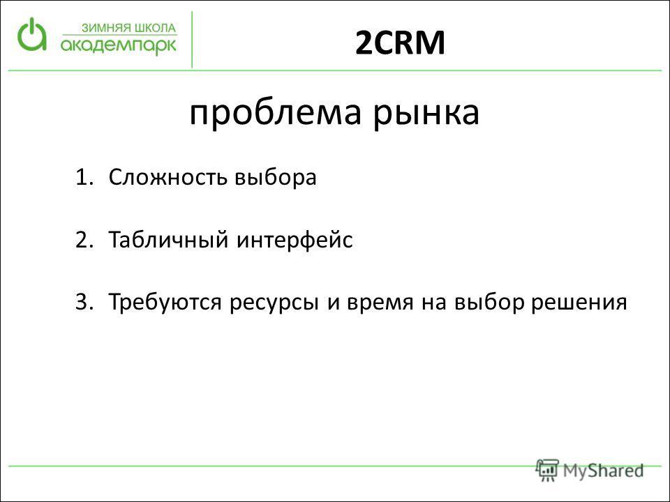 проблема рынка 1.Сложность выбора 2.Табличный интерфейс 3.Требуются ресурсы и время на выбор решения 2CRM