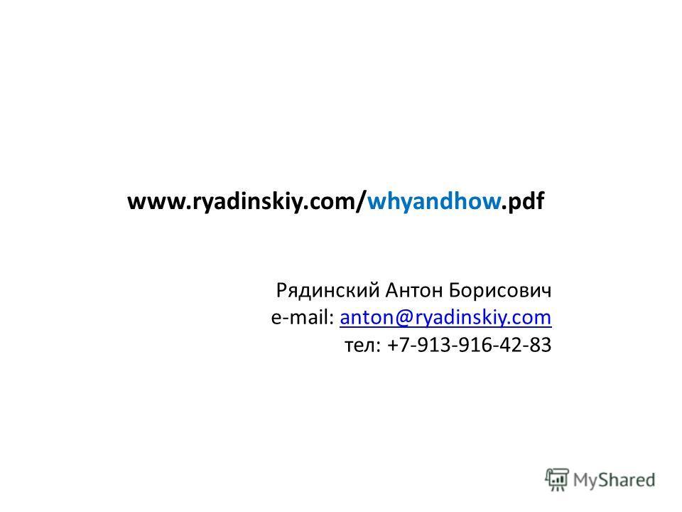 www.ryadinskiy.com/whyandhow.pdf Рядинский Антон Борисович e-mail: anton@ryadinskiy.comanton@ryadinskiy.com тел: +7-913-916-42-83