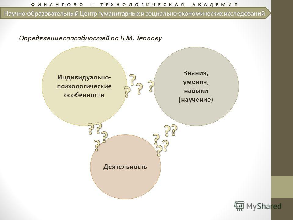 ФИНАНСОВО – ТЕХНОЛОГИЧЕСКАЯ АКАДЕМИЯ Определение способностей по Б.М. Теплову Индивидуально- психологические особенности Знания, умения, навыки (научение) Деятельность