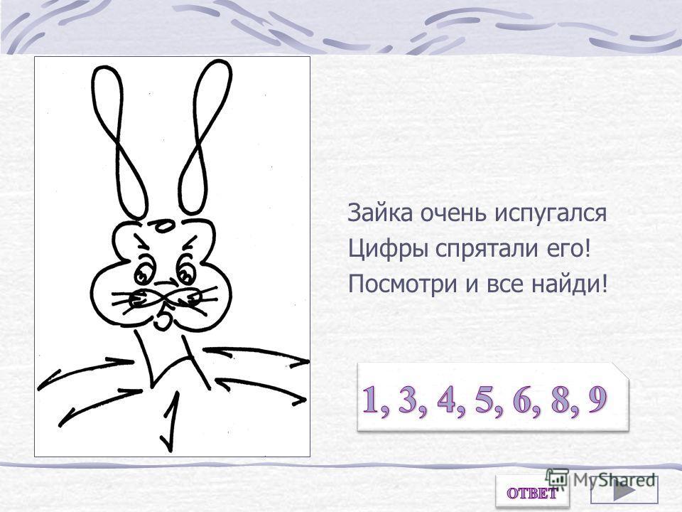 Зайка очень испугался Цифры спрятали его! Посмотри и все найди! Назови цифры, из которых состоит рисунок.