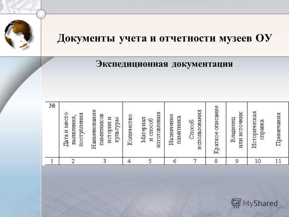 Документы учета и отчетности музеев ОУ Экспедиционная документация