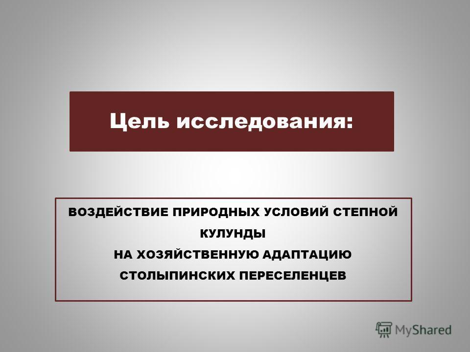 ВОЗДЕЙСТВИЕ ПРИРОДНЫХ УСЛОВИЙ СТЕПНОЙ КУЛУНДЫ НА ХОЗЯЙСТВЕННУЮ АДАПТАЦИЮ СТОЛЫПИНСКИХ ПЕРЕСЕЛЕНЦЕВ Цель исследования:
