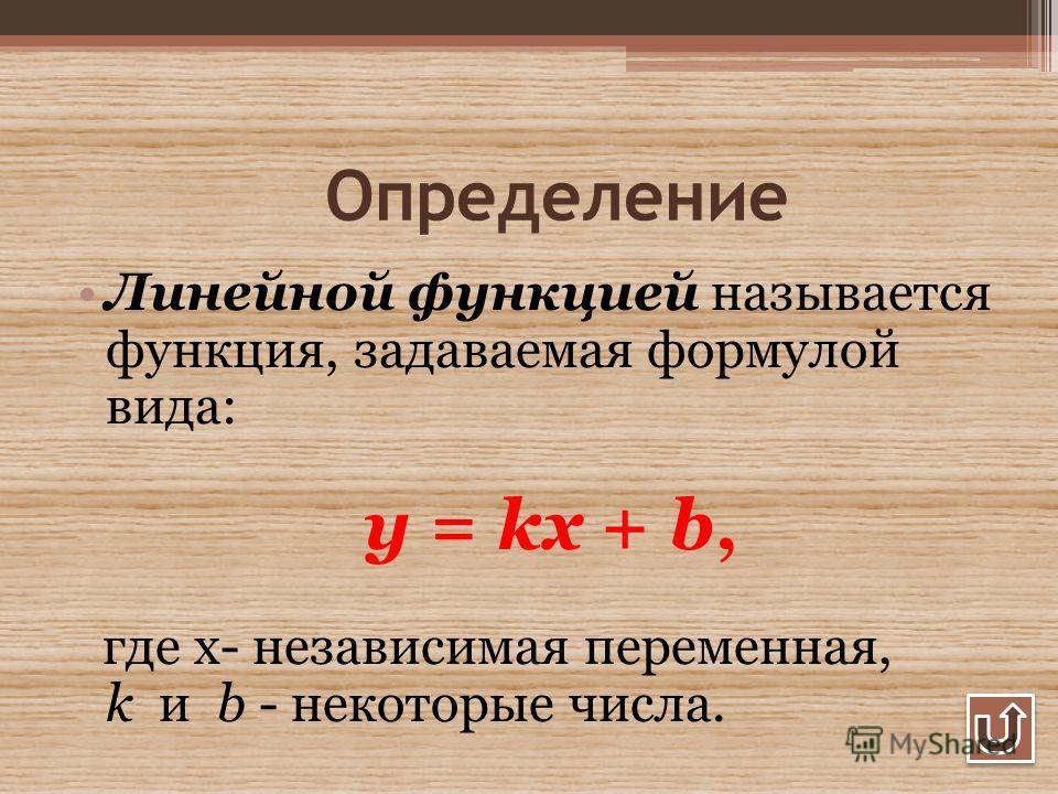 Определение Линейной функцией называется функция, задаваемая формулой вида: y = kx + b, где х- независимая переменная, k и b - некоторые числа.