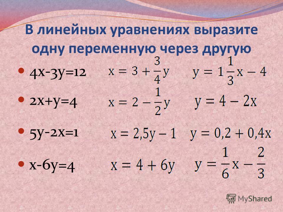 В линейных уравнениях выразите одну переменную через другую 4х-3у=12 2х+у=4 5у-2х=1 х-6у=4