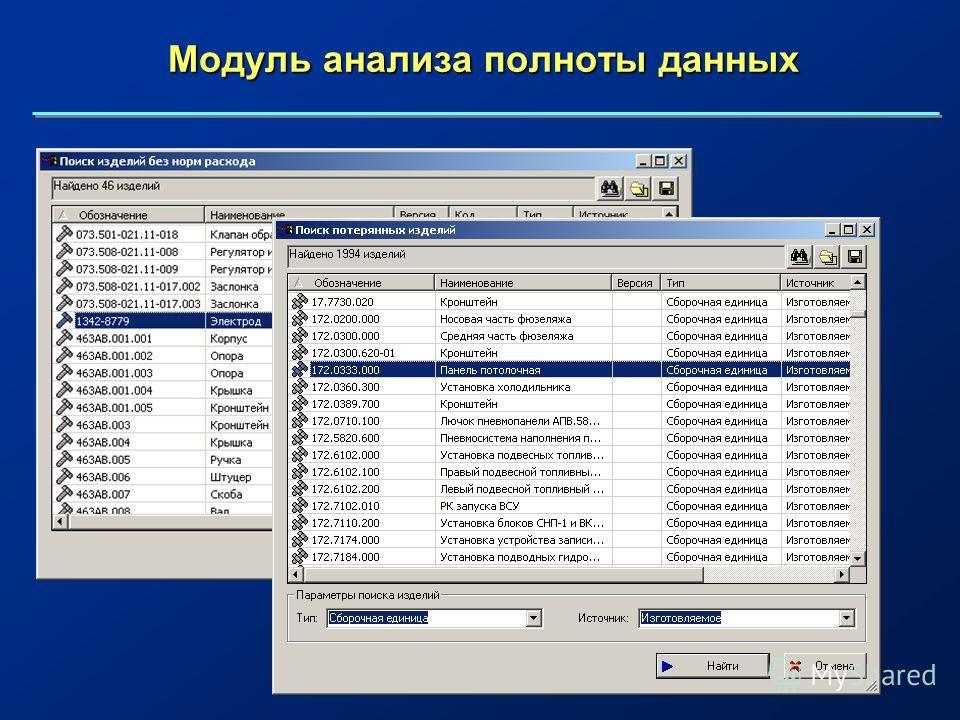 Модуль анализа полноты данных