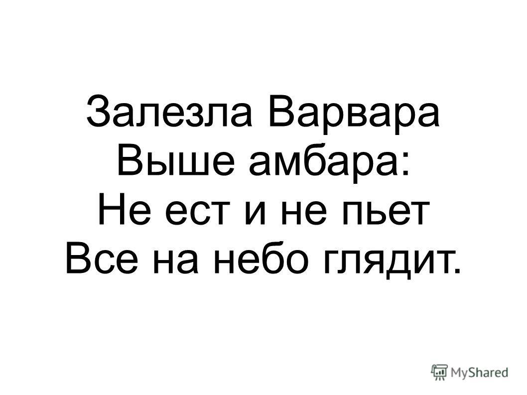 Залезла Варвара Выше амбара: Не ест и не пьет Все на небо глядит.