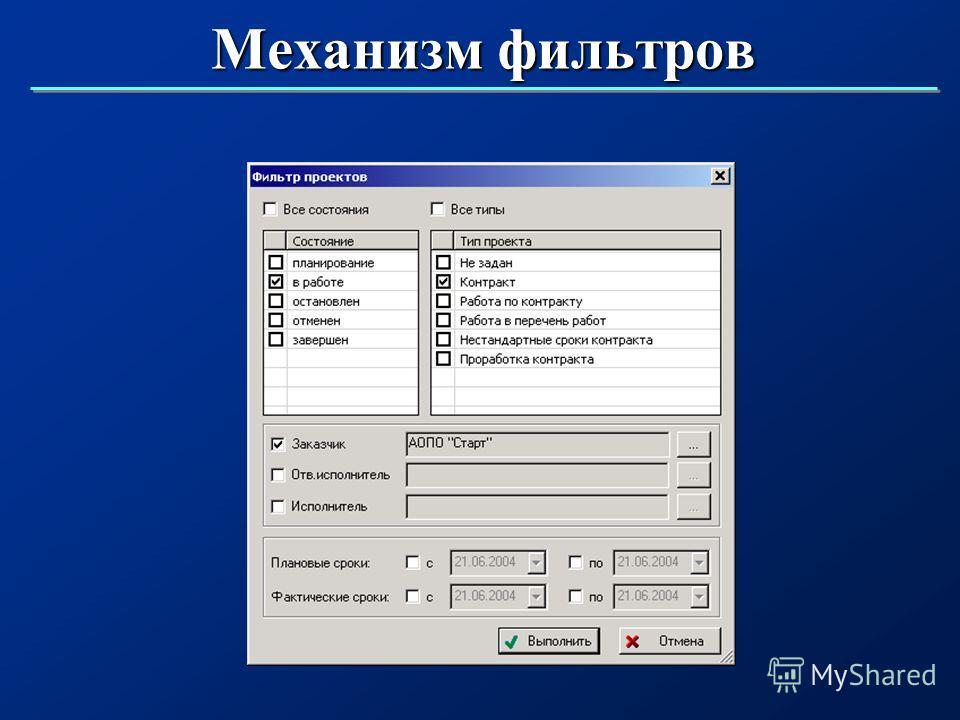 Механизм фильтров