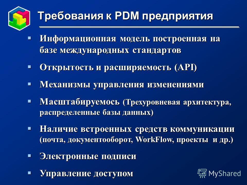 Требования к PDM предприятия Информационная модель построенная на базе международных стандартов Информационная модель построенная на базе международных стандартов Открытость и расширяемость (API) Открытость и расширяемость (API) Механизмы управления