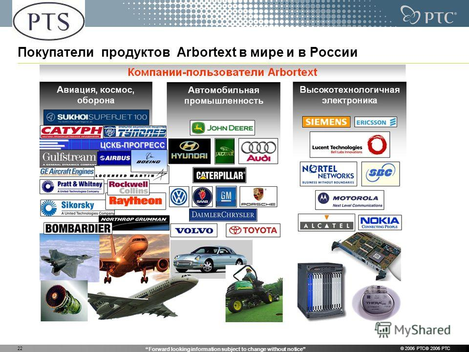 Forward looking information subject to change without notice © 2006 PTC© 2006 PTC22 Покупатели продуктов Arbortext в мире и в России