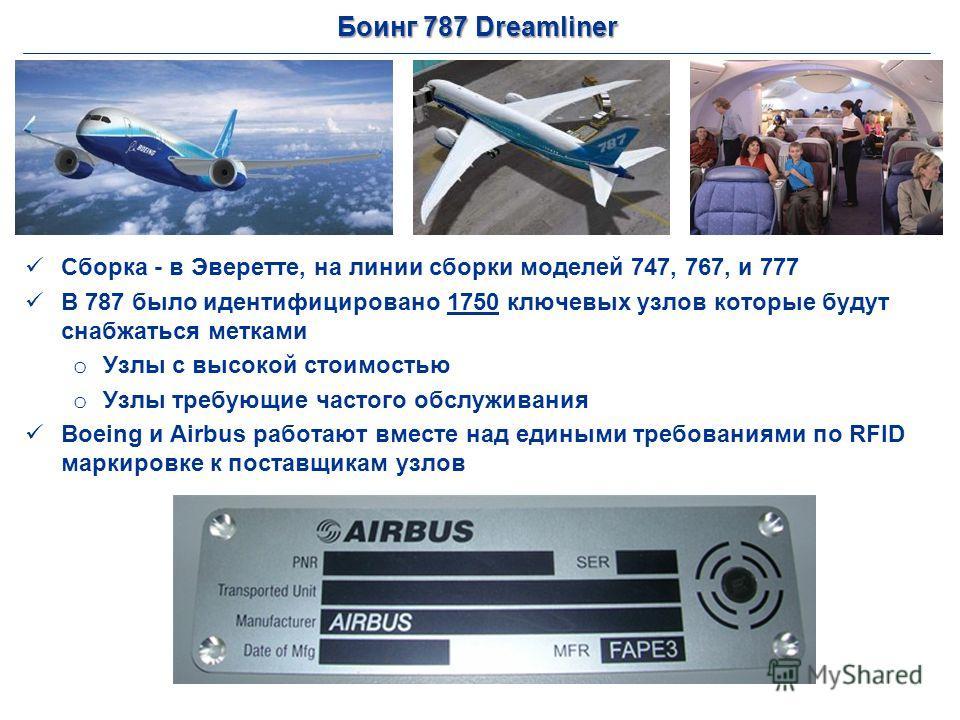 Боинг 787 Dreamliner Сборка - в Эверетте, на линии сборки моделей 747, 767, и 777 В 787 было идентифицировано 1750 ключевых узлов которые будут снабжаться метками o Узлы с высокой стоимостью o Узлы требующие частого обслуживания Boeing и Airbus работ