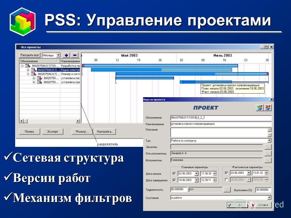 PSS: Управление проектами Сетевая структура Сетевая структура Версии работ Версии работ Механизм фильтров Механизм фильтров