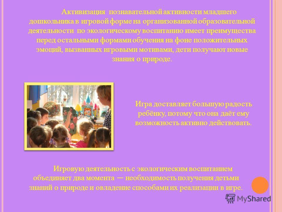 Активизация познавательной активности младшего дошкольника в игровой форме на организованной образовательной деятельности по экологическому воспитанию имеет преимущества перед остальными формами обучения на фоне положительных эмоций, вызванных игровы
