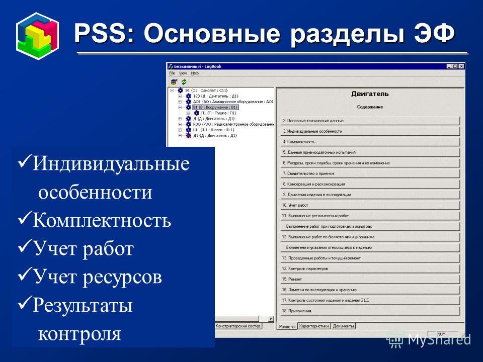 PSS: Основные разделы ЭФ Индивидуальные особенности Комплектность Учет работ Учет ресурсов Результаты контроля