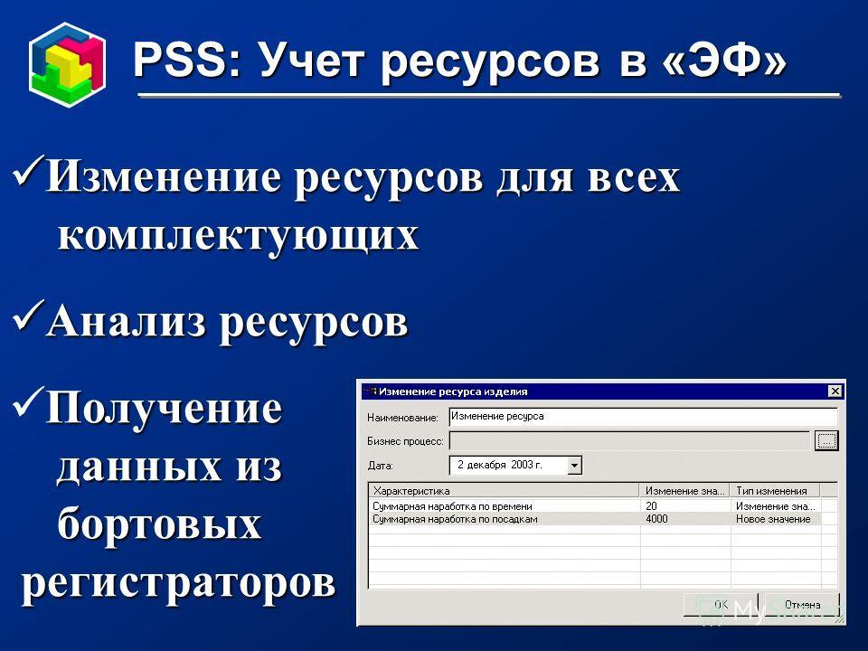 PSS: Учет ресурсов в «ЭФ» Изменение ресурсов для всех Изменение ресурсов для всех комплектующих комплектующих Анализ ресурсов Анализ ресурсов Получение данных из данных из бортовых бортовых регистраторов регистраторов