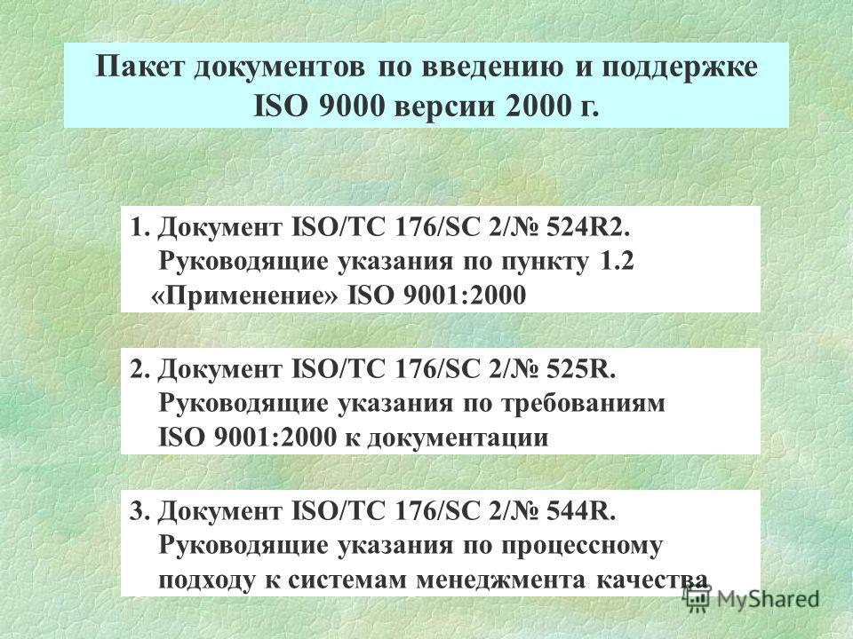Пакет документов по введению и поддержке ISO 9000 версии 2000 г. 1. Документ ISO/TC 176/SC 2/ 524R2. Руководящие указания по пункту 1.2 «Применение» ISO 9001:2000 2. Документ ISO/TC 176/SC 2/ 525R. Руководящие указания по требованиям ISO 9001:2000 к