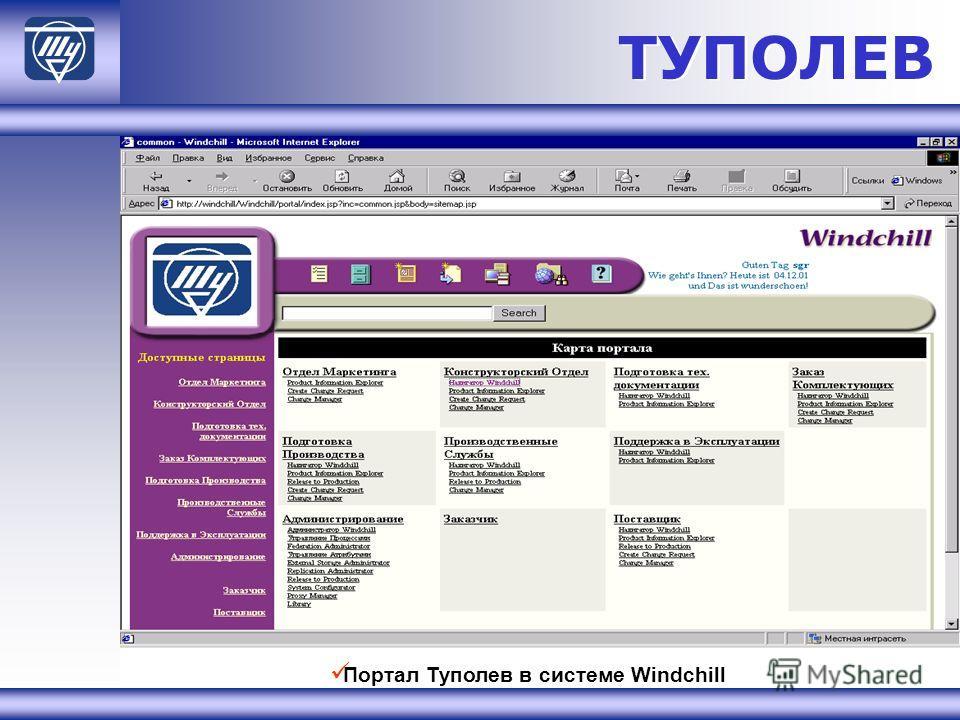 ТУПОЛЕВ Портал Туполев в системе Windchill