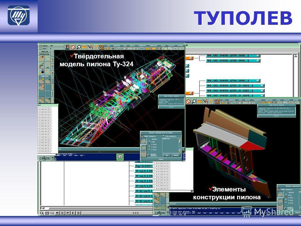 ТУПОЛЕВ Твёрдотельная модель пилона Ту-324 Элементы конструкции пилона