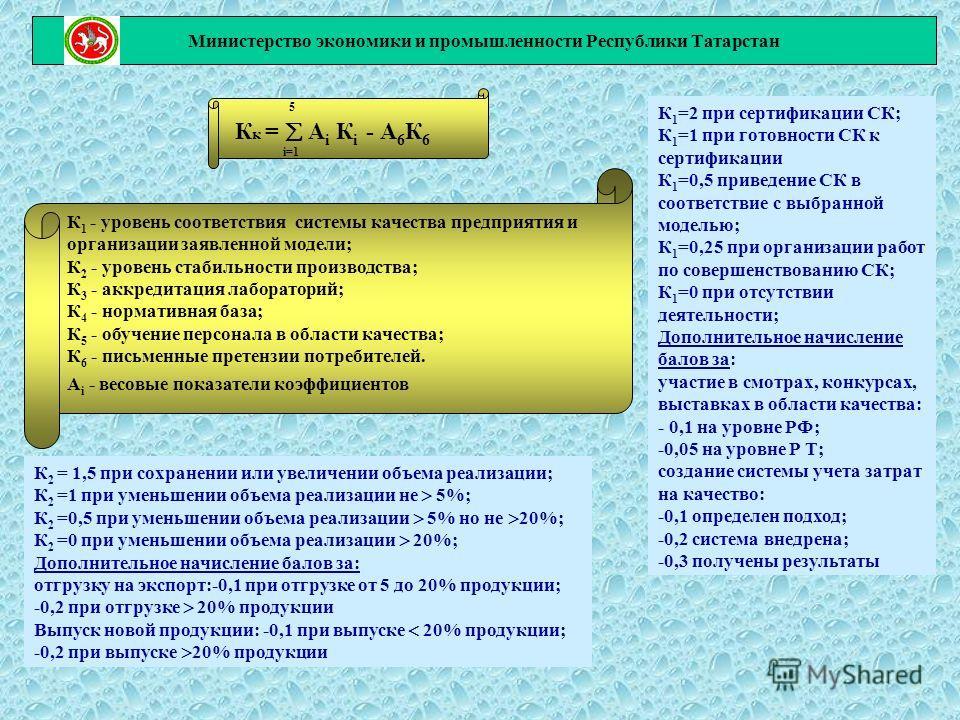Министерство экономики и промышленности Республики Татарстан 5 К к = А i К i - А 6 К 6 i=1 К 1 - уровень соответствия системы качества предприятия и организации заявленной модели; К 2 - уровень стабильности производства; К 3 - аккредитация лаборатори