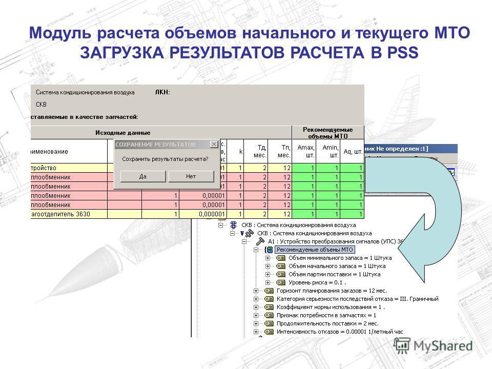 Модуль расчета объемов начального и текущего МТО ЗАГРУЗКА РЕЗУЛЬТАТОВ РАСЧЕТА В PSS
