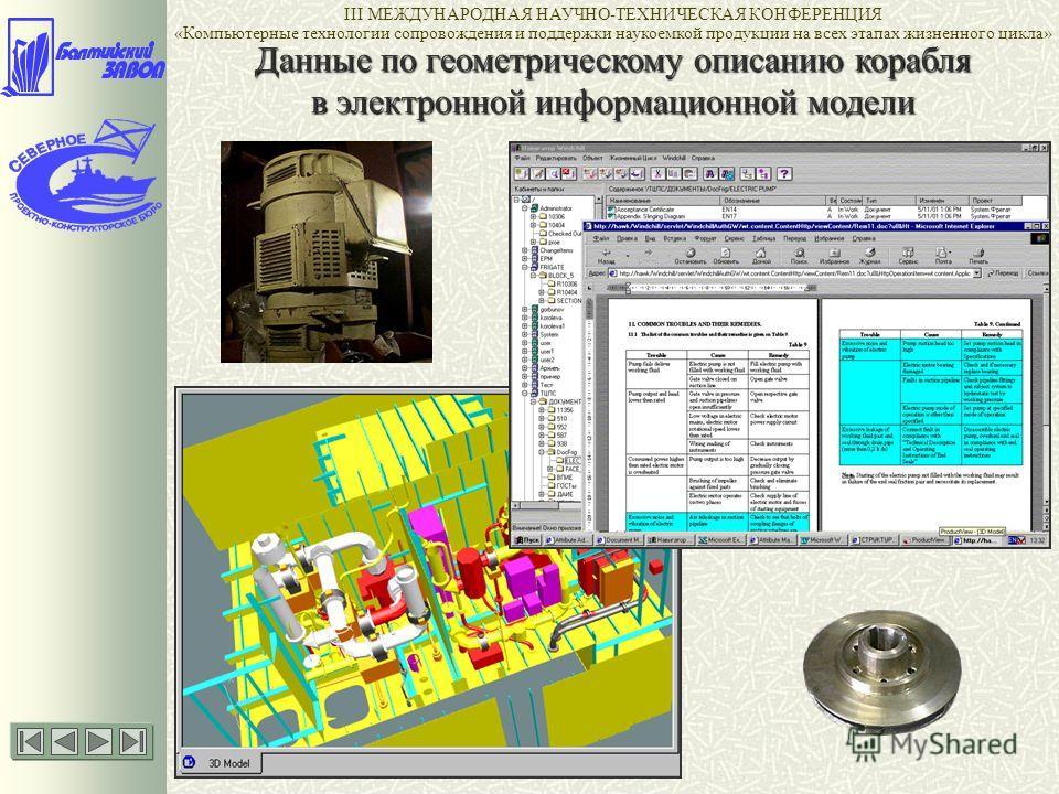Данные по геометрическому описанию корабля в электронной информационной модели