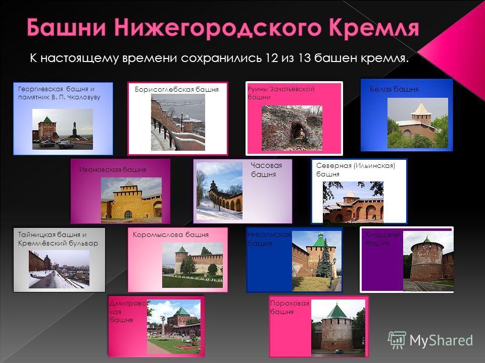Георгиевская башня и памятник В. П. Чкаловуву Борисоглебская башня Руины Зачатьевской башни Белая башня Ивановская башня Часовая башня Северная (Ильинская) башня Тайницкая башня и Кремлёвский бульвар К настоящему времени сохранились 12 из 13 башен кр