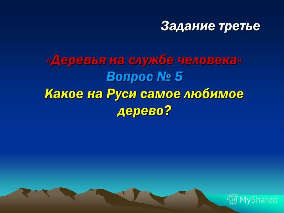 Задание третье «Деревья на службе человека» Вопрос 5 Какое на Руси самое любимое дерево?