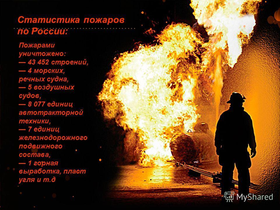 Статистика пожаров по России: Пожарами уничтожено: 43 452 строений, 4 морских, речных судна, 5 воздушных судов, 8 077 единиц автотракторной техники, 7 единиц железнодорожного подвижного состава, 1 горная выработка, пласт угля и т.д