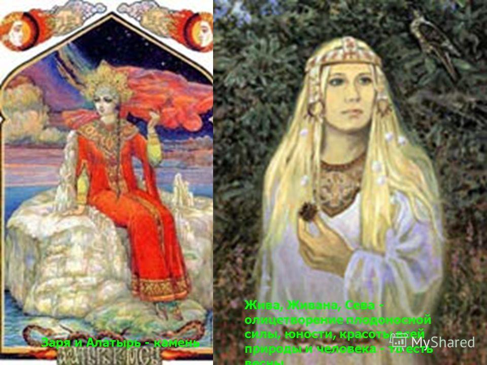 Заря и Алатырь - камень Жива, Живана, Сева - олицетворение плодоносной силы, юности, красоты всей природы и человека - то есть весны.