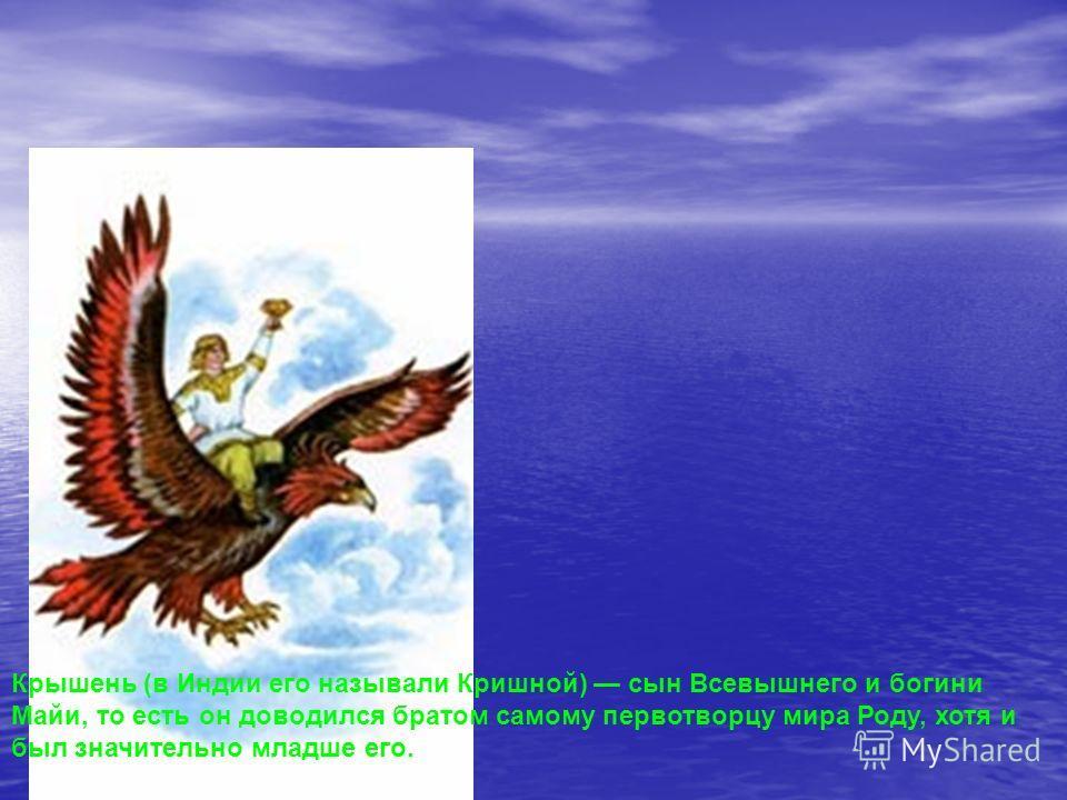Крышень (в Индии его называли Кришной) сын Всевышнего и богини Майи, то есть он доводился братом самому первотворцу мира Роду, хотя и был значительно младше его.