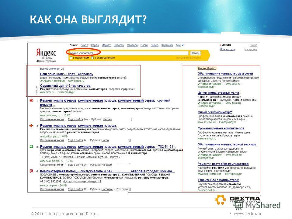 © 2011 – Интернет-агентство Dextra / www.dextra.ru Пример. Кто поможет починить сломавшийся компьютер? КАК ОНА ВЫГЛЯДИТ?