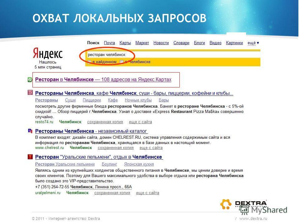 ОХВАТ ЛОКАЛЬНЫХ ЗАПРОСОВ © 2011 – Интернет-агентство Dextra / www.dextra.ru Пример. Какой ресторан посетить в Челябинске?