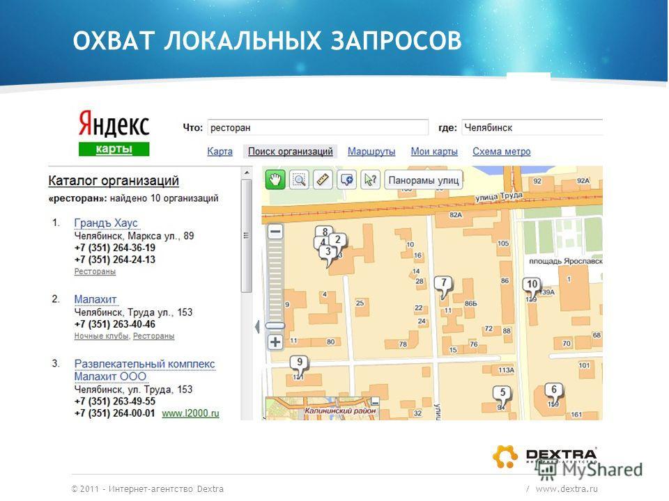 ОХВАТ ЛОКАЛЬНЫХ ЗАПРОСОВ © 2011 – Интернет-агентство Dextra / www.dextra.ru